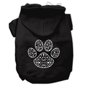 Henna Paw Screen Print Pet Hoodies Black Size Sm (10)