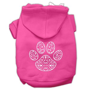 Henna Paw Screen Print Pet Hoodies Bright Pink Size Sm (10)