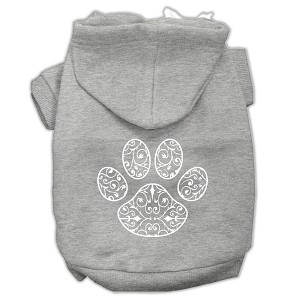 Henna Paw Screen Print Pet Hoodies Grey Size Med (12)