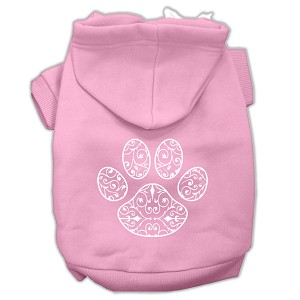 Henna Paw Screen Print Pet Hoodies Light Pink Size Lg (14)
