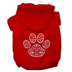 Henna Paw Screen Print Pet Hoodies Red Size Lg (14)