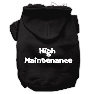 High Maintenance Screen Print Pet Hoodies Black S (10)