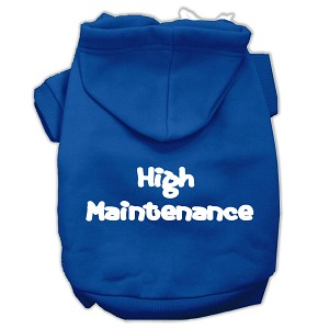 High Maintenance Screen Print Pet Hoodies Blue L (14)
