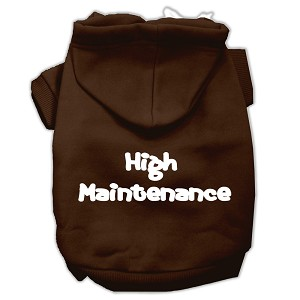 High Maintenance Screen Print Pet Hoodies Brown XXL (18)