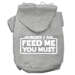 Hungry I am Screen Print Pet Hoodies Grey Size Med (12)