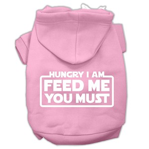 Hungry I am Screen Print Pet Hoodies Light Pink Size Lg (14)