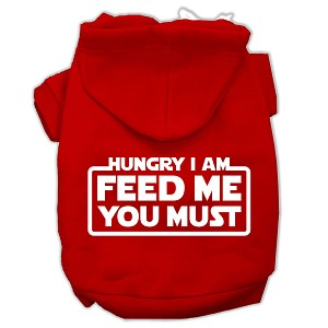 Hungry I am Screen Print Pet Hoodies Red Size Med (12)