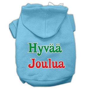 Hyvaa Joulua Screen Print Pet Hoodies Baby Blue S (10)