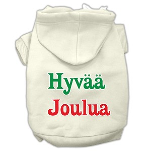 Hyvaa Joulua Screen Print Pet Hoodies Cream Size S (10)