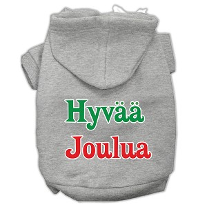 Hyvaa Joulua Screen Print Pet Hoodies Grey XXXL(20)