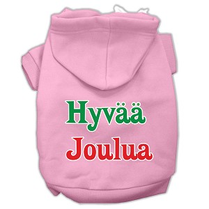 Hyvaa Joulua Screen Print Pet Hoodies Light Pink XS (8)
