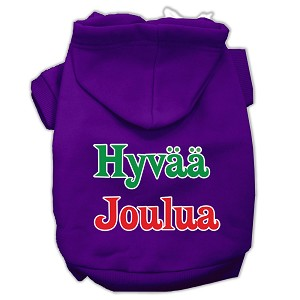 Hyvaa Joulua Screen Print Pet Hoodies Purple XL (16)
