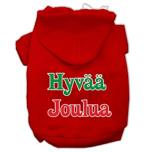 Hyvaa Joulua Screen Print Pet Hoodies Red Size XL (16)