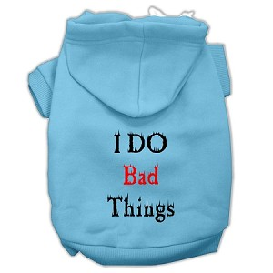 I Do Bad Things Screen Print Pet Hoodies Baby Blue XXXL(20)