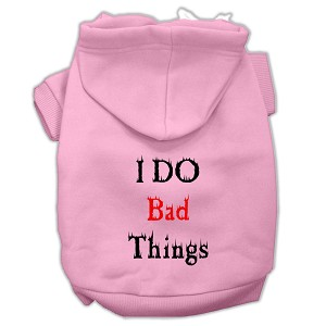 I Do Bad Things Screen Print Pet Hoodies Light Pink M (12)