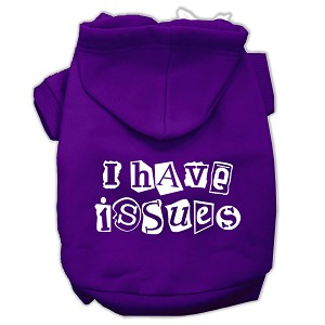 I Have Issues Screen Printed Dog Pet Hoodies Purple Size Med (12)