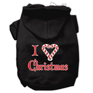 I Heart Christmas Screen Print Pet Hoodies Black Size XL (16)