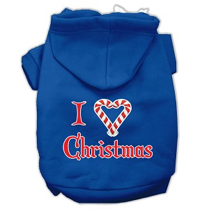 I Heart Christmas Screen Print Pet Hoodies Blue Size Med (12)