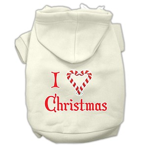 I Heart Christmas Screen Print Pet Hoodies Cream Size Sm (10)