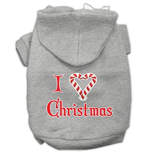 I Heart Christmas Screen Print Pet Hoodies Grey Size XS (8)