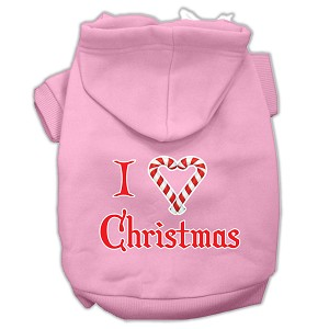 I Heart Christmas Screen Print Pet Hoodies Light Pink Size XL (16)