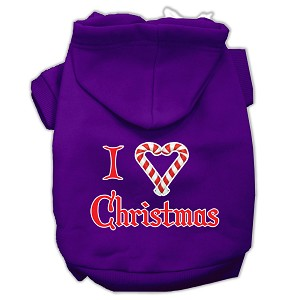 I Heart Christmas Screen Print Pet Hoodies Purple Size XS (8)
