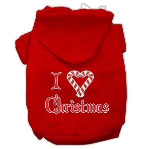 I Heart Christmas Screen Print Pet Hoodies Red Size Sm (10)