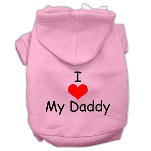 I Love My Daddy Screen Print Pet Hoodies Pink Size XS (8)