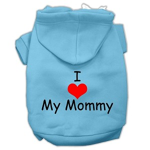 I Love My Mommy Screen Print Pet Hoodies Baby Blue Size XL (16)