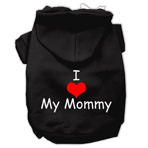 I Love My Mommy Screen Print Pet Hoodies Black Size Med (12)