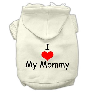I Love My Mommy Screen Print Pet Hoodies Cream Size XS (8)