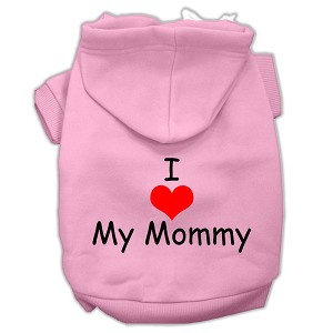 I Love My Mommy Screen Print Pet Hoodies Pink Size Med (12)