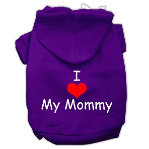 I Love My Mommy Screen Print Pet Hoodies Purple Size XS (8)