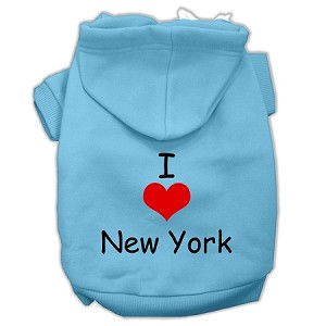 I Love New York Screen Print Pet Hoodies Baby Blue Size Sm (10)