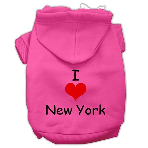 I Love New York Screen Print Pet Hoodies Bright Pink Size XS (8)