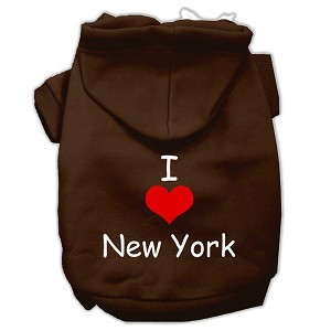 I Love New York Screen Print Pet Hoodies Brown Size Sm (10)