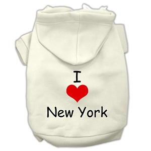 I Love New York Screen Print Pet Hoodies Cream Size Sm (10)
