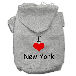I Love New York Screen Print Pet Hoodies Grey Size XL (16)