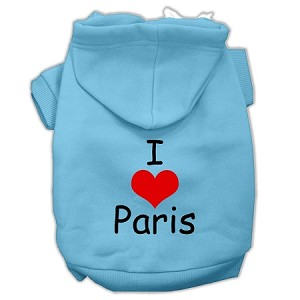 I Love Paris Screen Print Pet Hoodies Baby Blue Size Sm (10)