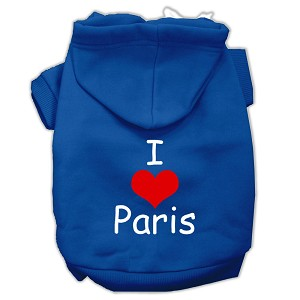 I Love Paris Screen Print Pet Hoodies Blue Size Sm (10)