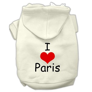 I Love Paris Screen Print Pet Hoodies Cream Size Sm (10)