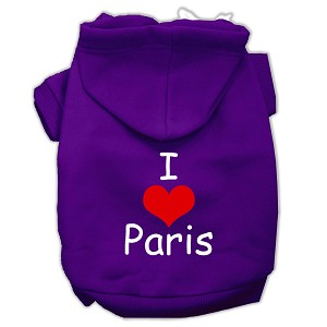 I Love Paris Screen Print Pet Hoodies Purple Size Sm (10)