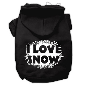 I Love Snow Screenprint Pet Hoodies Black Size M (12)