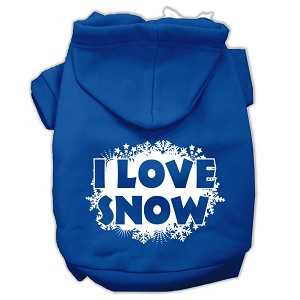 I Love Snow Screenprint Pet Hoodies Blue Size Med (12)