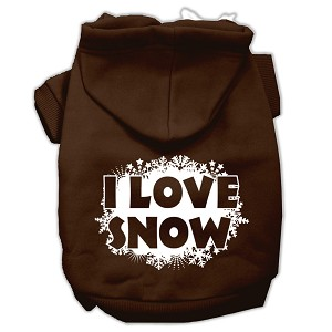 I Love Snow Screenprint Pet Hoodies Brown Size Med (12)