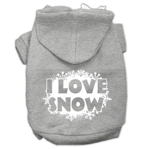 I Love Snow Screenprint Pet Hoodies Grey Size S (10)