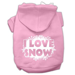 I Love Snow Screenprint Pet Hoodies Light Pink Size L (14)