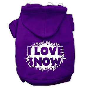 I Love Snow Screenprint Pet Hoodies Purple Size M (12)