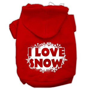 I Love Snow Screenprint Pet Hoodies Red Size XS (8)
