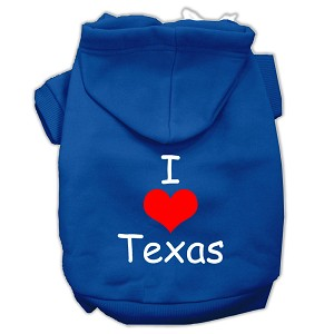 I Love Texas Screen Print Pet Hoodies Blue Size Med (12)